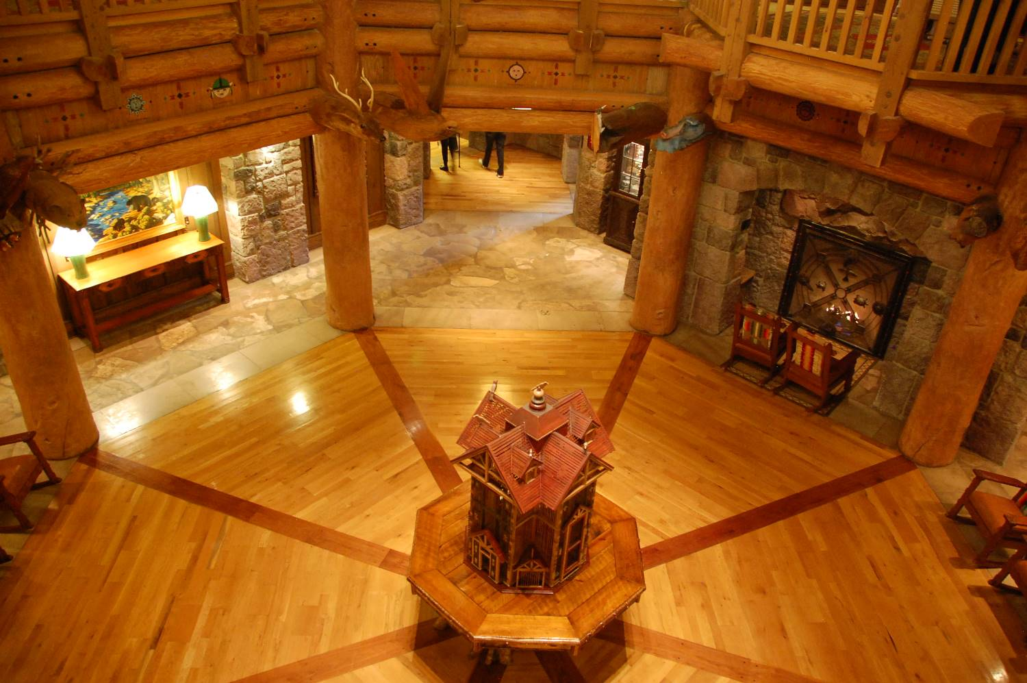 The beautiful and rustic lobby in the Villas at Disney's Wilderness Lodge was inspired by the American Railroad hotels on the 1860's.