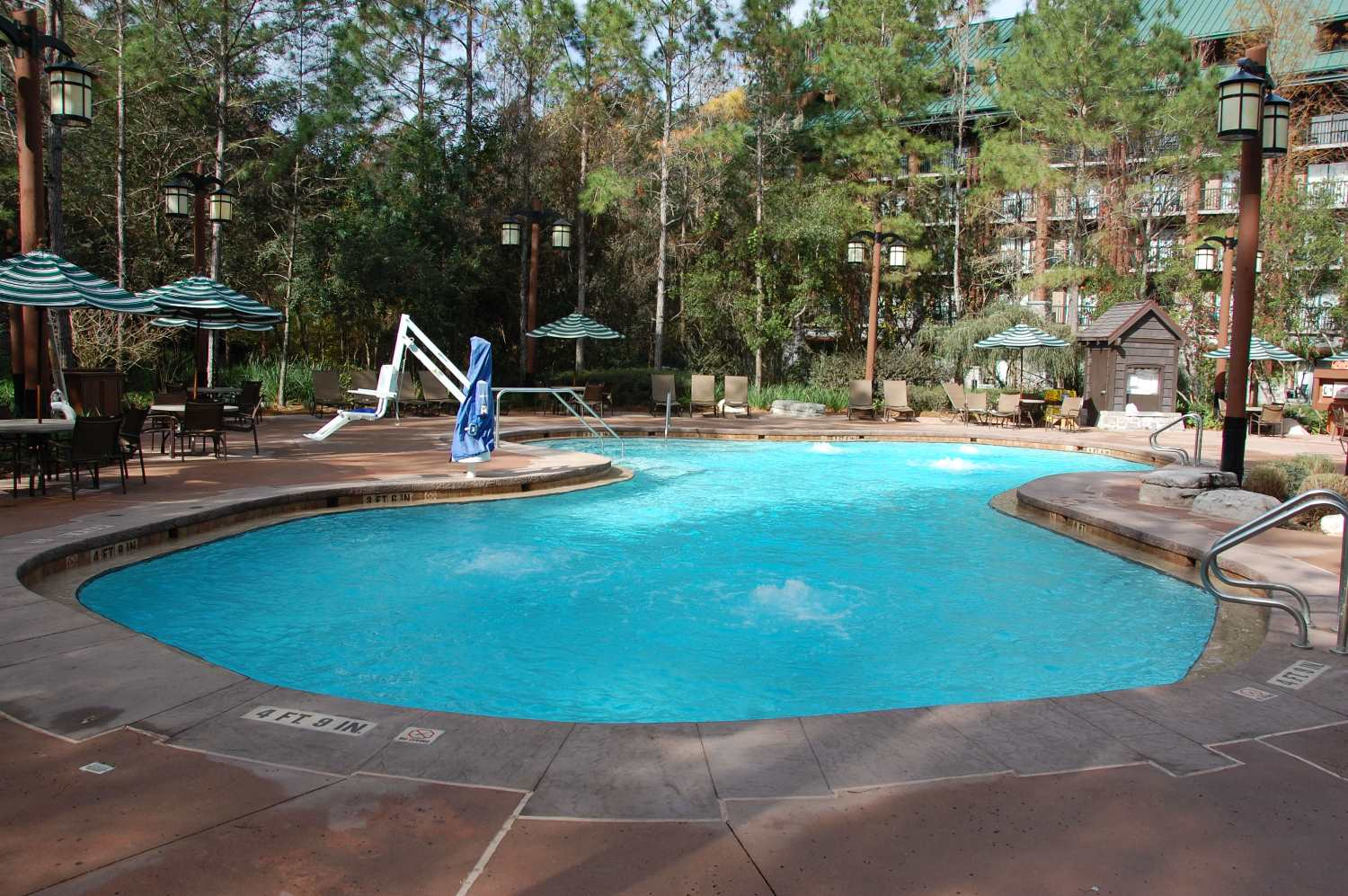 The swimming pool at the villas at Disney's Wilderness Lodge in the Magic Kingdom area of the Walt Disney World Resort in Florida.
