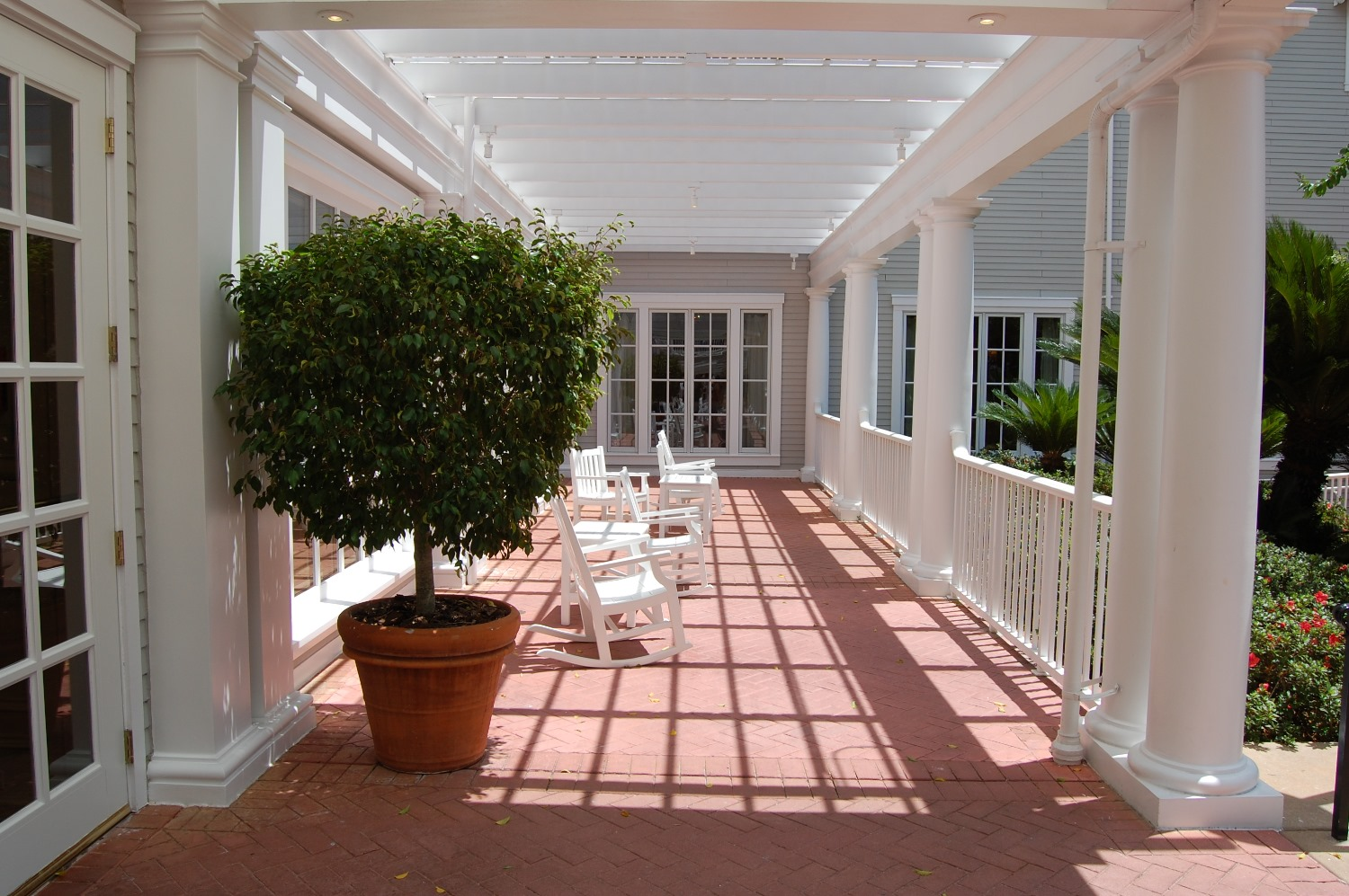 Sit and relax on one of the lovely porches at Disney's Yacht Club hotel - Disney World.