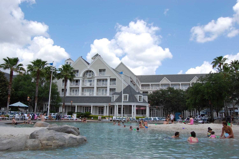 Fun sandy beach area at Disney's Yacht Club Resort at Disney World.