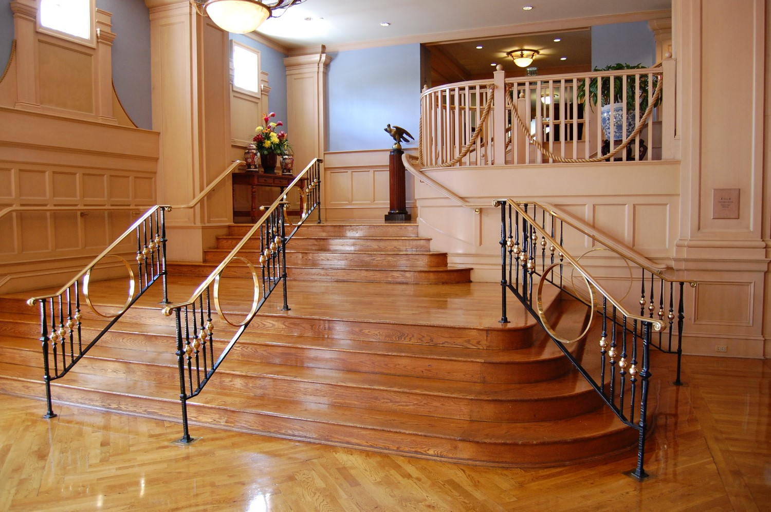Lovely stairs in the lobby of Disney's Yacht Club Resort at Disney World.