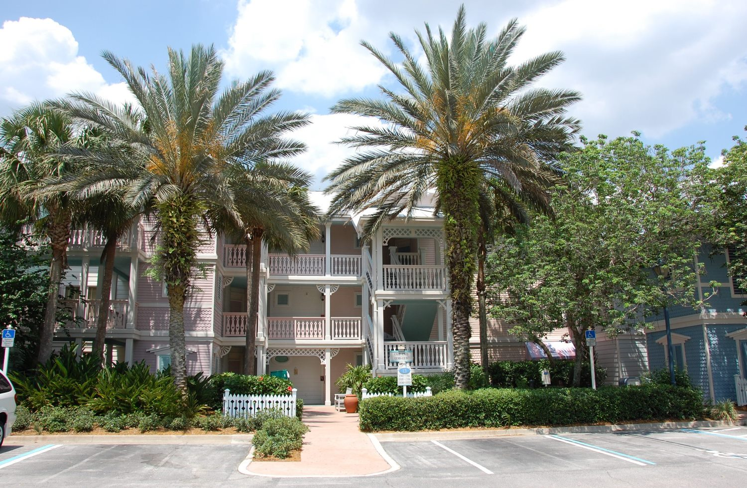 Old Key West Guest Building.  Most buildings have good access to nearby parking.