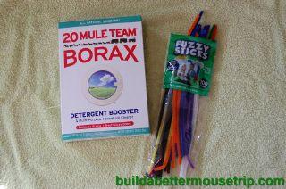 Supplies for making borax crystal ornaments.