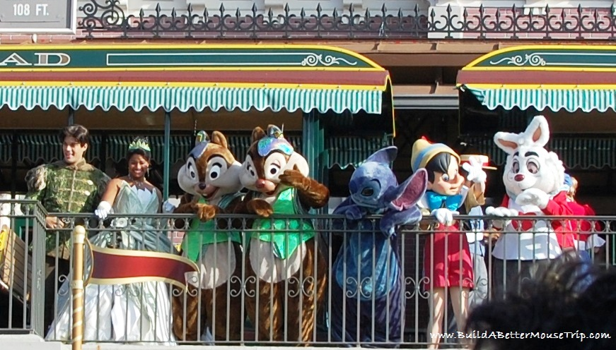 Disney characters at the opening of the Magic Kingdom / Walt Disney World Resort - Florida.