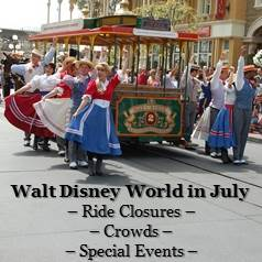 Disney World July - Crowd Information, Ride Closure & Refurbishments and Special Events Information in one easy list.