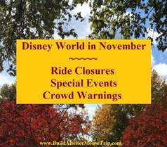 Disney World in November - Crowd Information, Ride Closure & Refurbishments and Special Events Information in one easy list. Also includes information about Mickey's Very Christmas Party.
