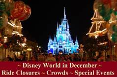 Disney World in December - Crowd Information, Ride Closure & Refurbishments and Special Events Information in one easy list. Also includes information about Mickey's Very Merry Christmas Party.