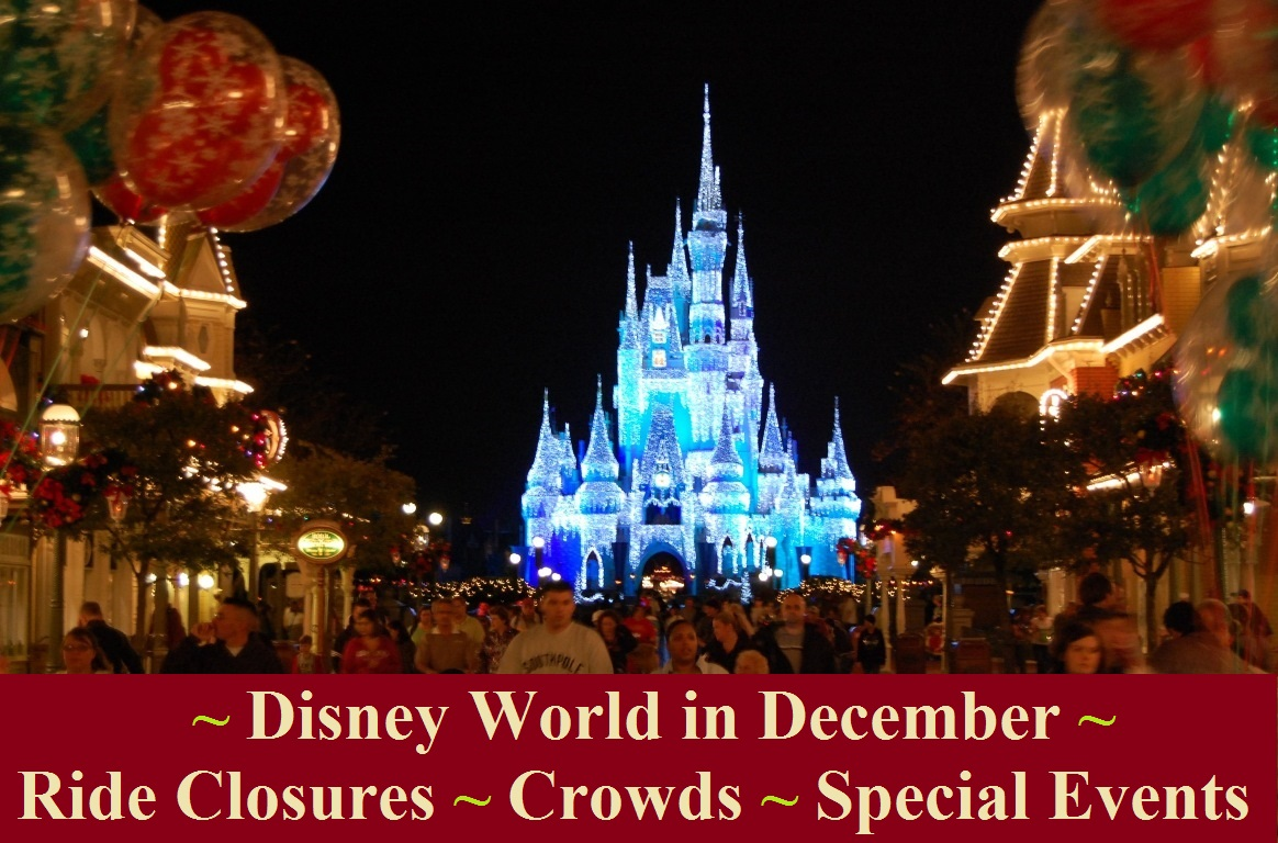 Click on the photo for a list of crowd warnings, closures and special events at Disney World in December.