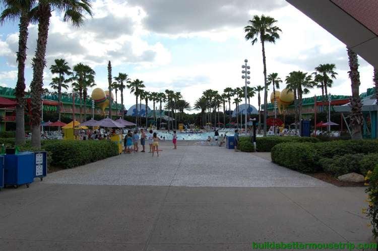 Main Courtyard and swimming pool at Disney's All-Star Music Resort.