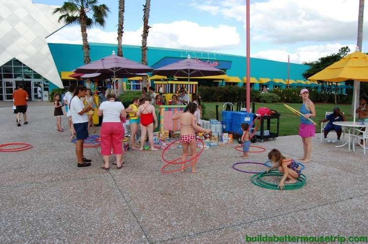 Disney Cast Members lead poolside activities at Disney's All-Star Music Resort