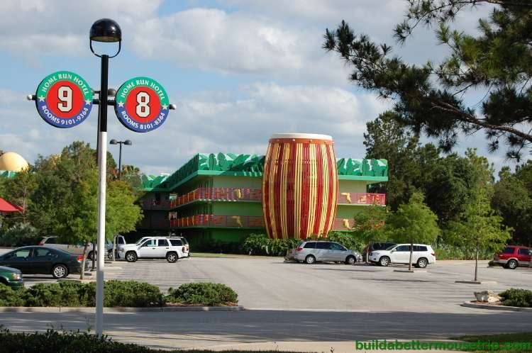 Bongo Drum staircase and free guest parking at Disney's All-Star Music Resort