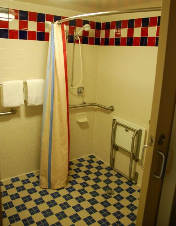 Accessible showers at Disney's All-Star Music Resort