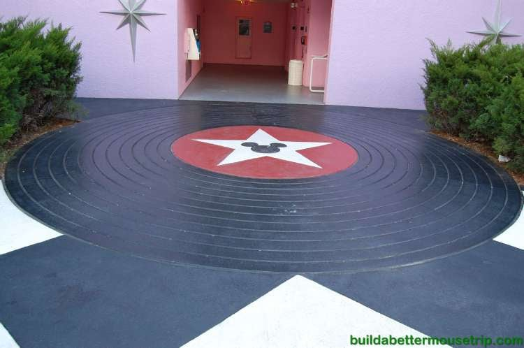 Vinyl album style pavers in the Rock and Roll section of Disney's All-Star Music Resort