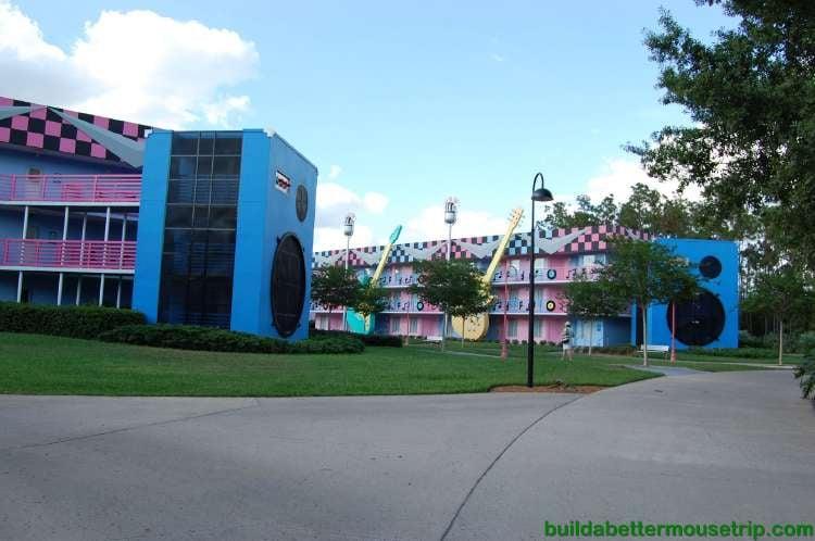 Rock Inn buildings at Disney's All-Star Music Resort - a value hotel at the Walt Disney World Resort in Florida.