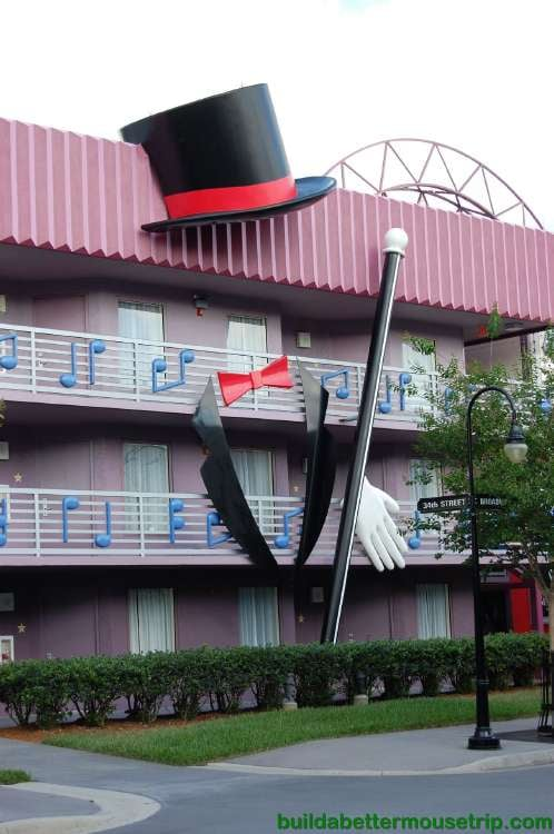 Top hats & canes adorn the Broadway themed buildings at Disney's All-Star Music Resort