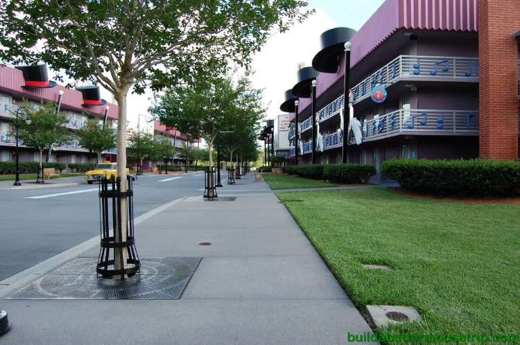 Tree lined Broadway Boulevard section of Disney's All-Star Music Resort