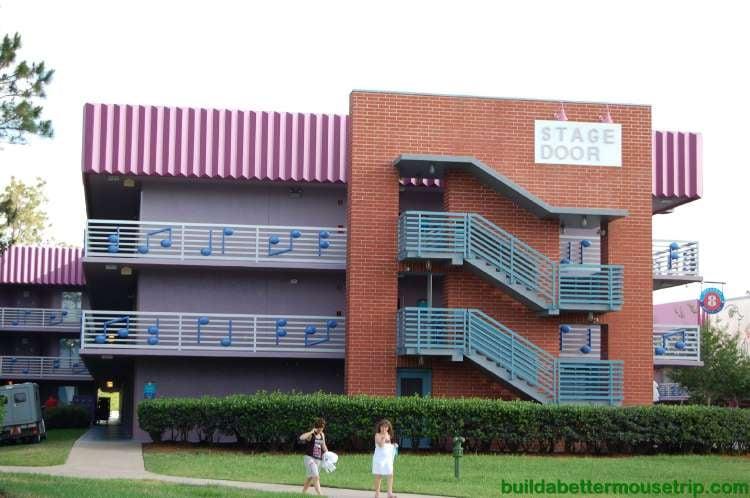 Three story buildings at Disney's All-Star Music Resort