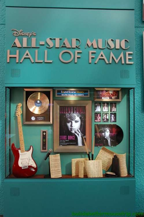 Disney's All-Star Music Resort Hall of Fame display in the hotel lobby