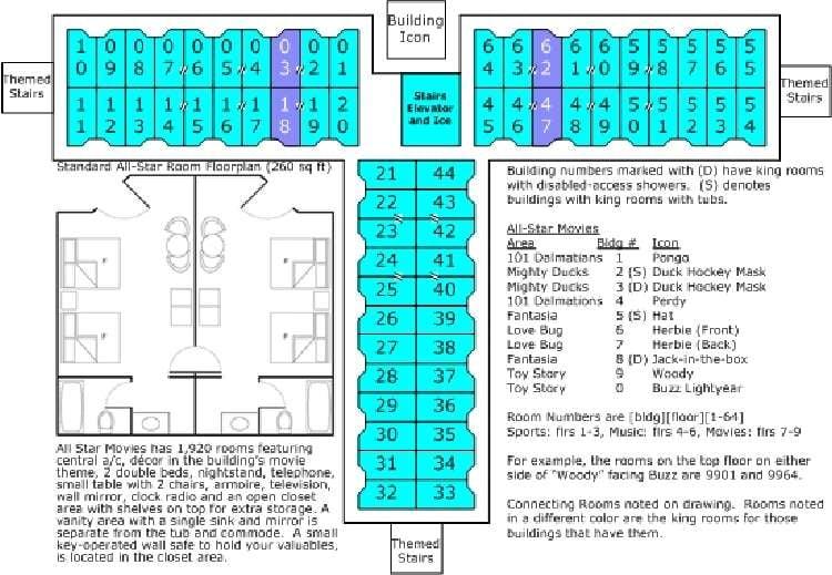 Building Floor Plan for Disney's All-Star Music Resort at the Walt Disney World Resort in Florida.