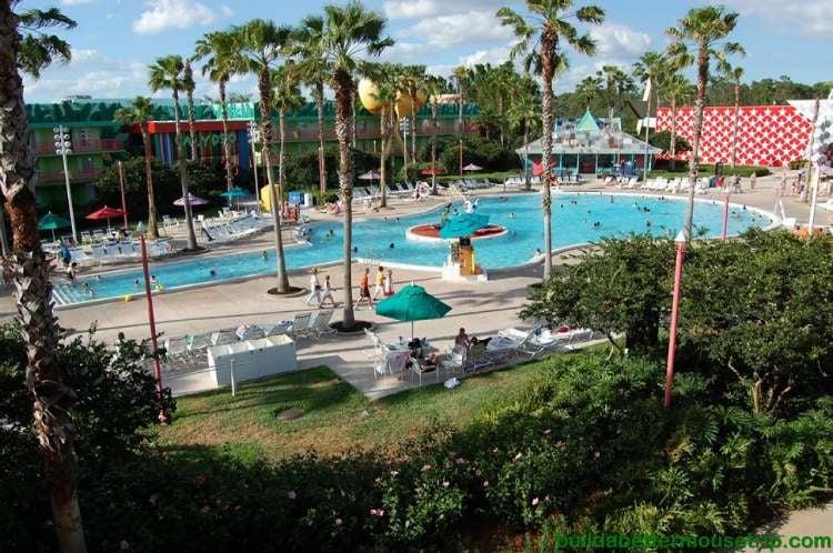 Guitar shaped Calypso pool at Disney's All-Star Music Resort