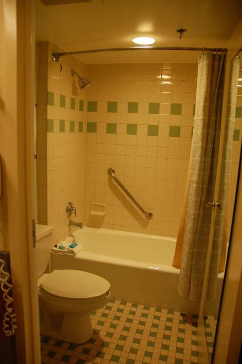 Most rooms at Disney's All-Star Music Resort have a standard bathtub/shower