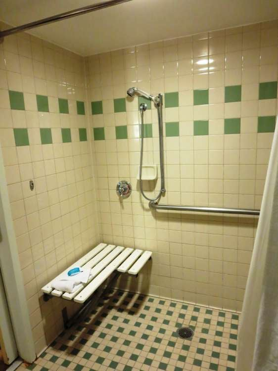 Rooms at Disney's All-Star Music Resortwith accessibility features  may have a large shower stall with hand-held shower and bench instead of the typical combination bathrub/shower unit.