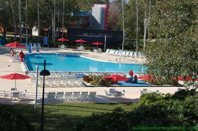 Piano pool and deck chairs at Disney's All-Star Music Resort