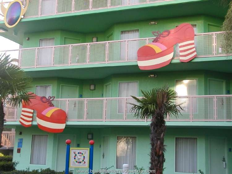 Platform shoe decor on the exteriors of the '70s buildings at Disney's Pop Century Resort