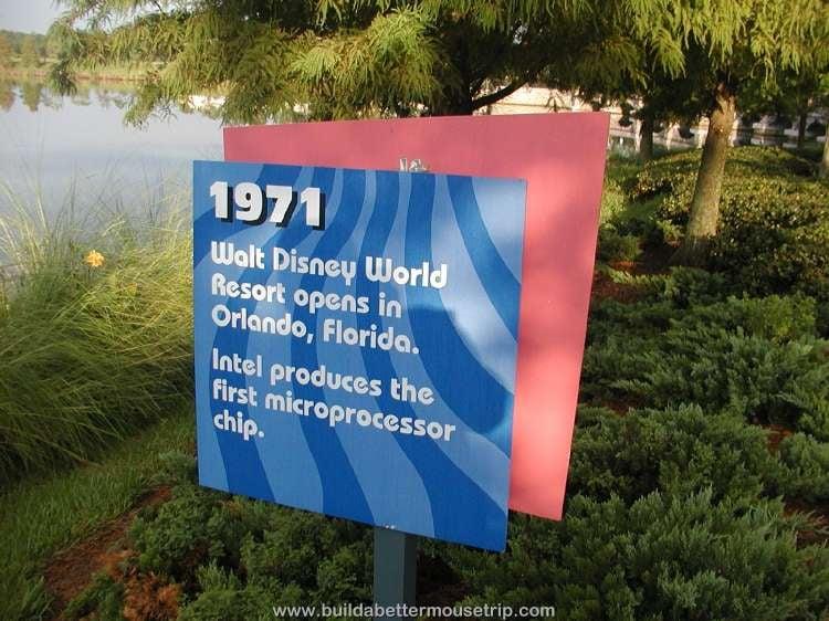 1971 Walt Disney World Resort opens in Orlando, Florida / Trivia sign at Disney's Pop Century Resort