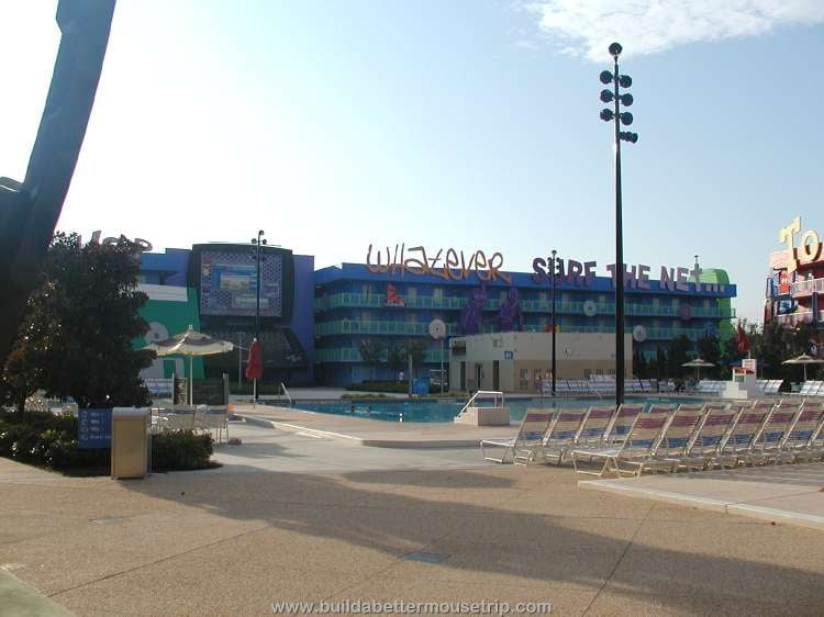 Computer pool and lounge chairs at Disney's Pop Century Resort / Disney World