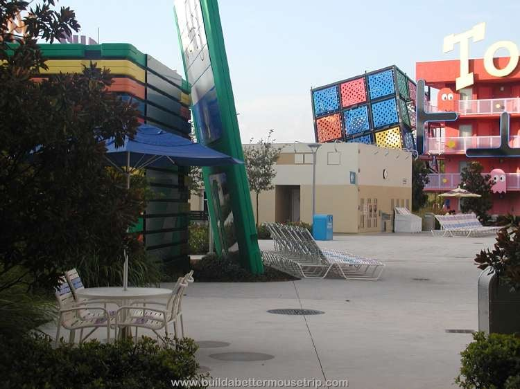 Bathhouse, restrooms and picnic table near the computer pool at Disney's Pop Century Resort