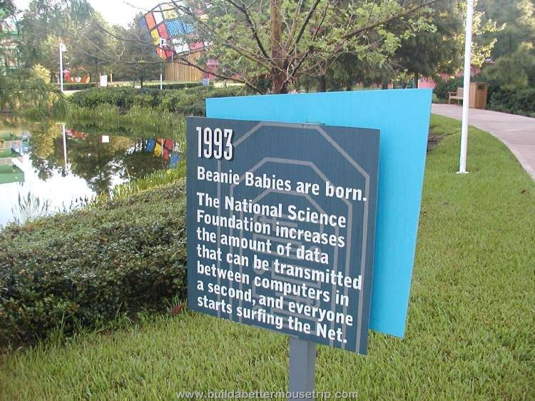 1993: Beanie Babies are born / Trivia sign at  at Disney's Pop Century hotel