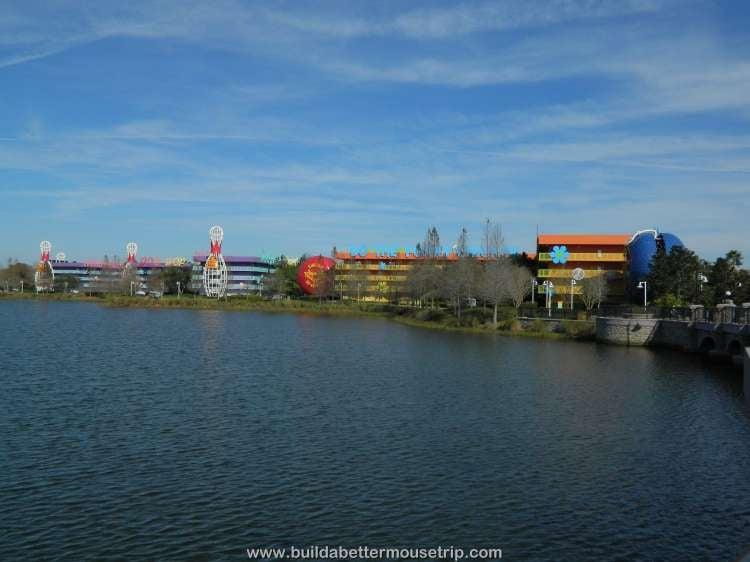A lakeside view of Disney's Pop Century / Walt Disney World Resort - Florida