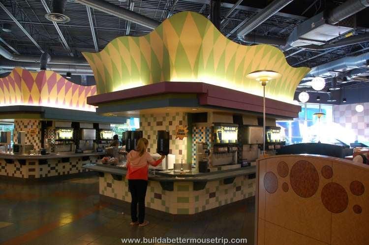 Beverage & condiment station in Everything Pop / Disney's Pop Century Resort
