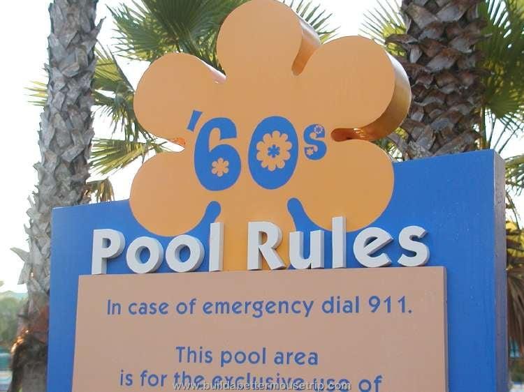 Hippy Dippy Pool sign in the 1960's area of Disney's Pop Century Resort