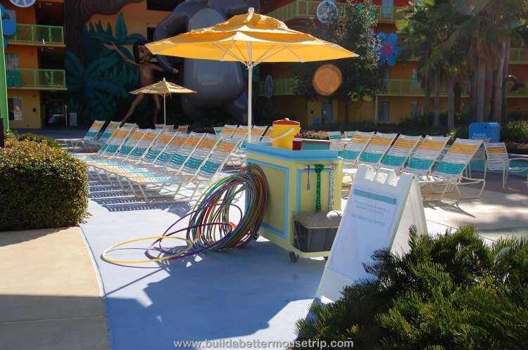 Activities station by the Hippy Dippy Pool at Disney's Pop Century Resort