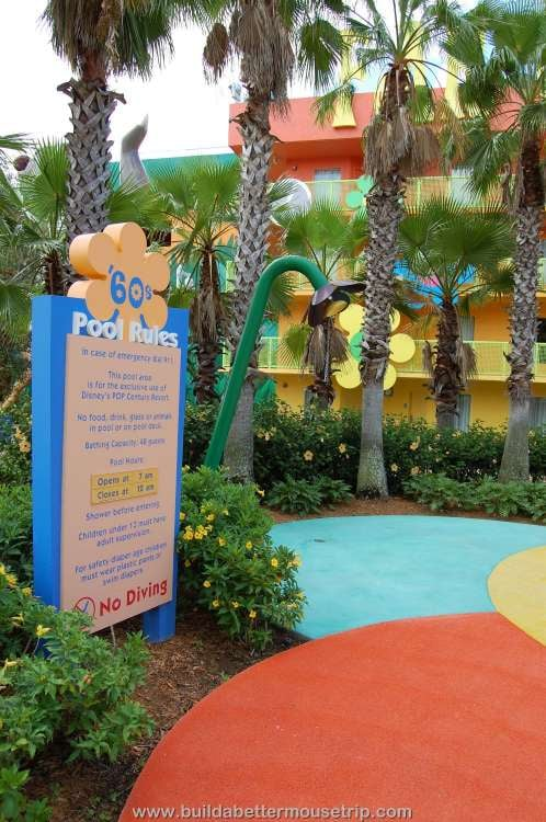 Pool rules sign at Disney's Pop Century Resort