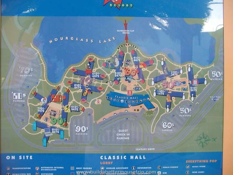 Resort map at Disney's Pop Century Resort