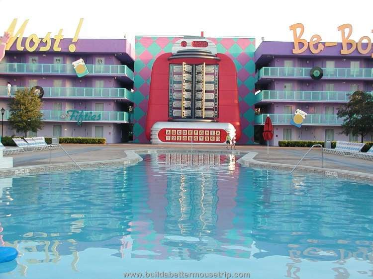 A giant jukebox and bowling pin pool at Disney's Pop Century Resort