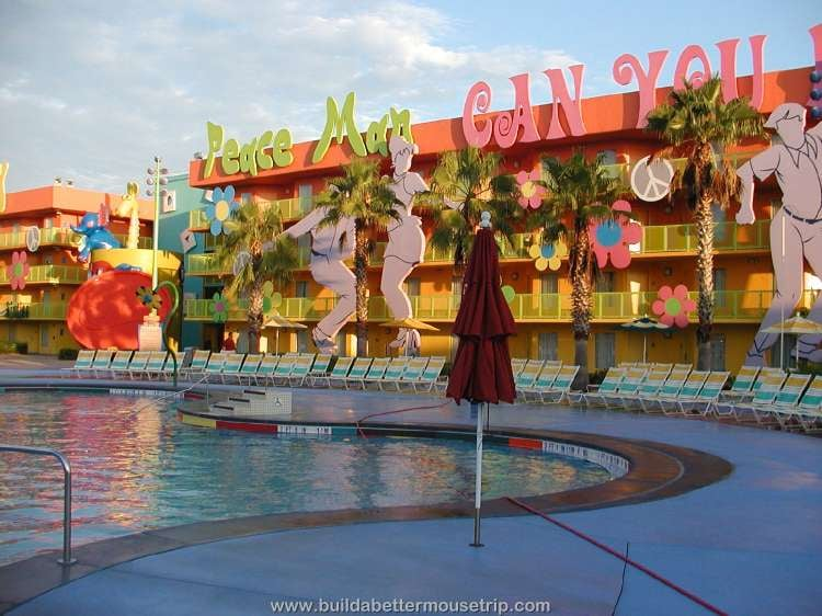 Hippy Dippy pool and 1960s themed building at Disney's Pop Century Resort
