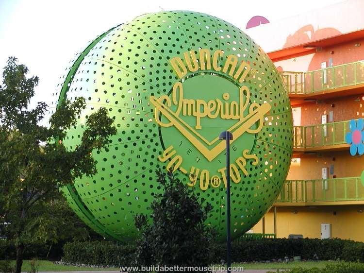 Giant Duncan Imperial yo-yo staircase at Disney's Pop Century Resort