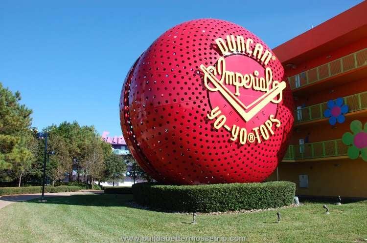 Red Duncan Yo-Yo staircase at Disney's Pop Century Resort