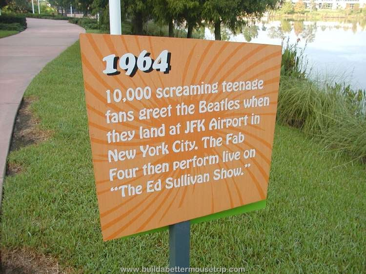 1964 - Beetles appear on The Ed Sullivan Show / Trivia sign at Disney's Pop Century Resort