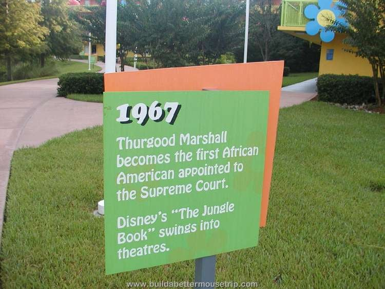 1967: Thurgood Marshall becomes the first African American appointed to the Supreme Court / Trivia sign at Disney's Pop Century Resort