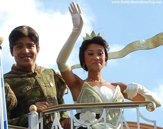 Princess Tiana and Prince Naveen from The Princess and the Frog in the Magic Kingdom at Disney World.