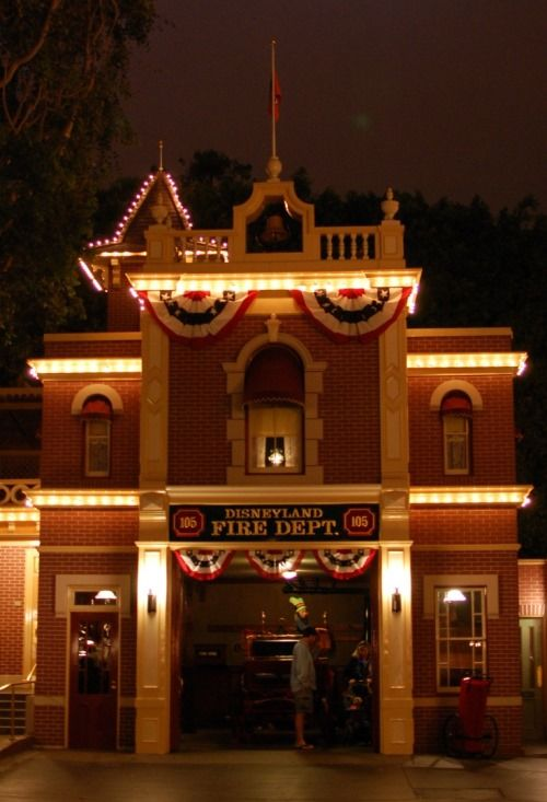Lamp in the window of the Disneyland Fire Department that symbolizes Walt's ongoing presence in Disneyland.