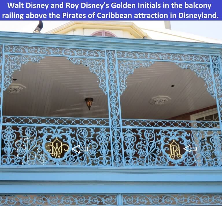 Walt Disney's and Roy Disney's Golden Initials in the ironwork balcony in New Orleans Square, Disneyland.