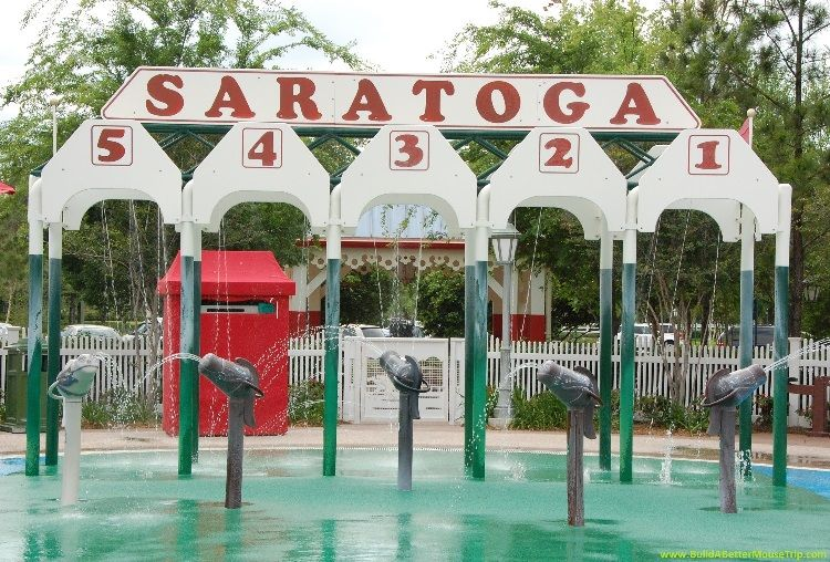 Horse race themed kiddie pool and splash area at Disney's Saratoga Resort & Spa