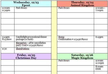 Disney World Itinerary sheet