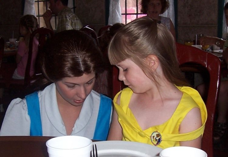 Belle from Beauty and the Beast at the Princess breakfast at Disney World.
